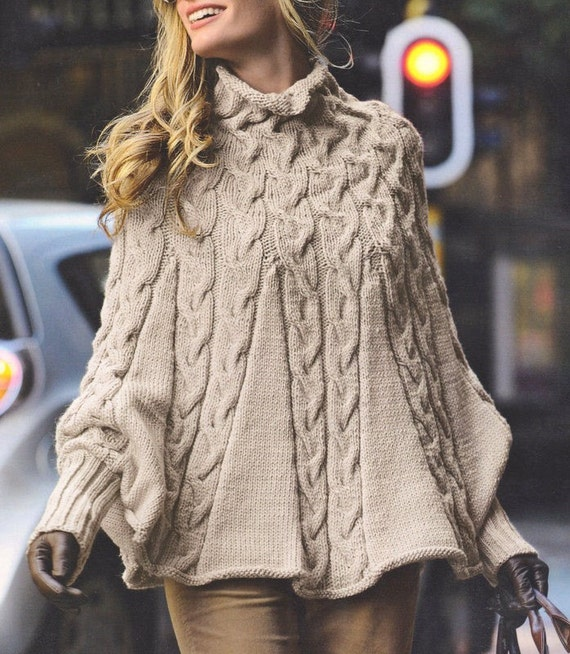 Womens Knitting Pattern Womens Poncho Womens Rap Aran | Etsy