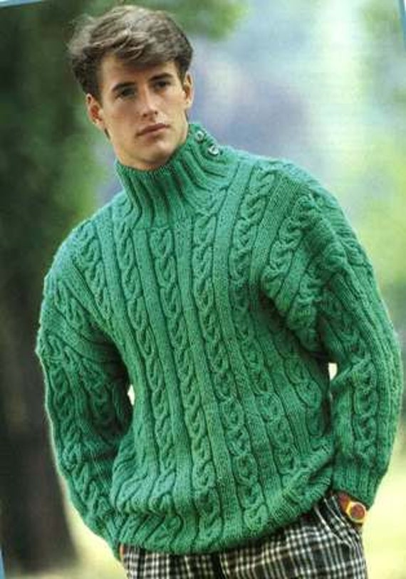 55fd7d6061e5d Knitting Pattern Mens Jumper Sweater Jersey Size 36ins