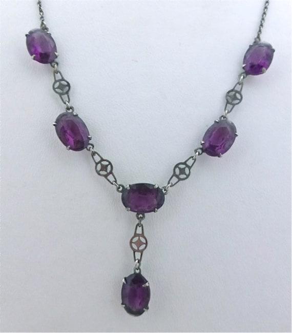 1930's Czech Art Deco Purple Crystal Necklace