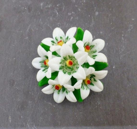 Celluloid Flower Brooch