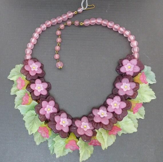 Lucite Floral Necklace