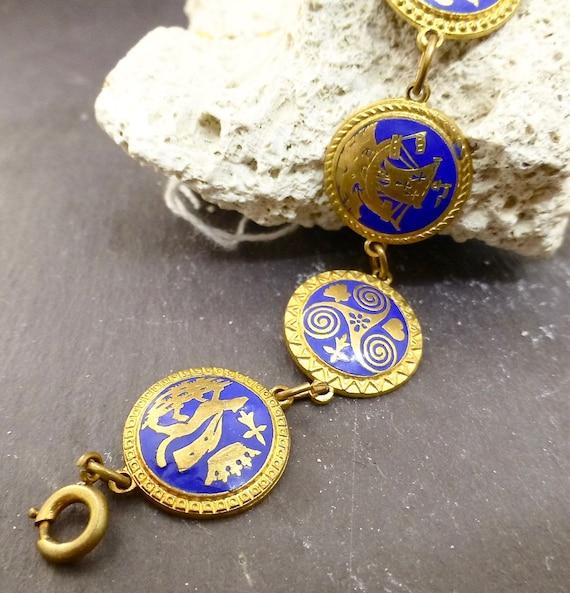 Heraldic/Coat of Arms Blue & Gold Bracelet