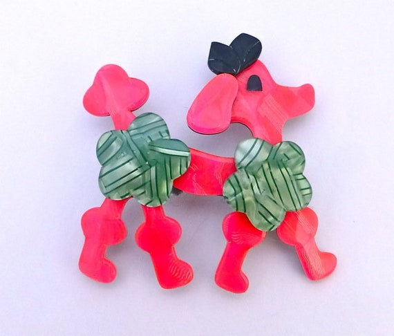 Lea Stein Neon Pink Poodle Pin