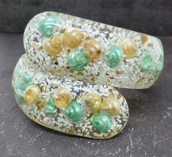 Seashell Lucite Clamper Bangle