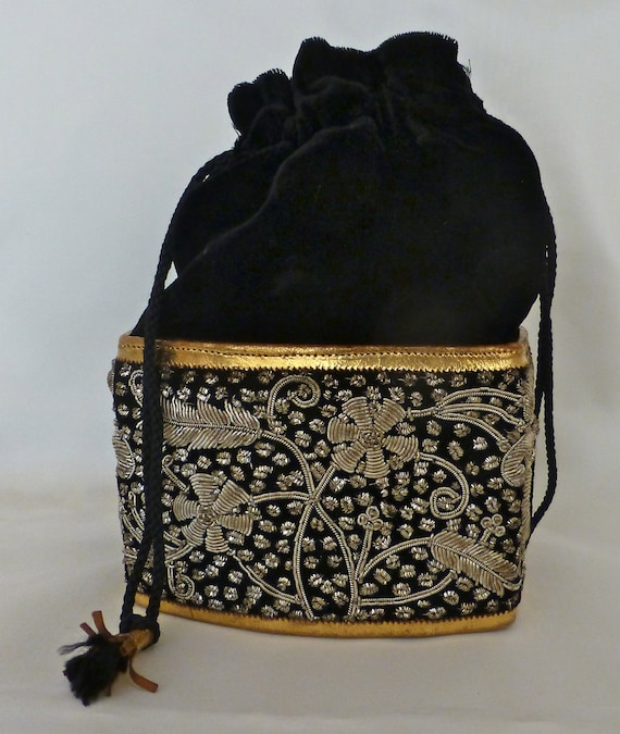 Black Velvet and Silver/Gold Beaded Pouch/Purse