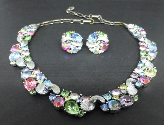 Lisner Pastel Crystal Necklace and Earrings