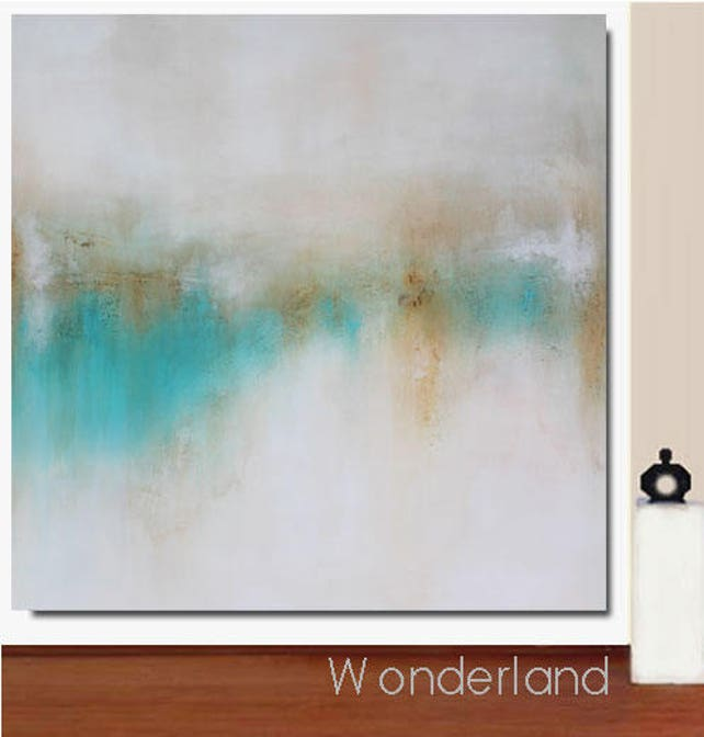 Best Selling Items Framed Abstract Landscape 40x40 Teal   Etsy