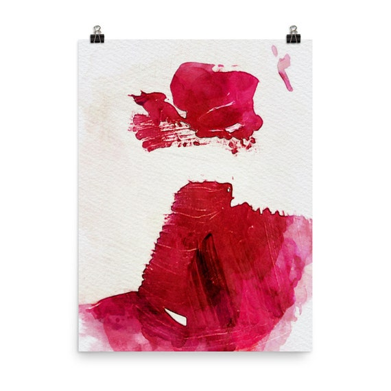 Print Lipstick Kisses Original Limited Edition Modern Abstract Art Print Wall Art Red Pink Vibrant Gift For Her Watercolor Arts