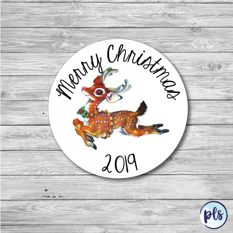 50 x Personalised Vintage Reindeer Christmas Stickers Labels Cards Presents Gifts Xmas Retro\\\\