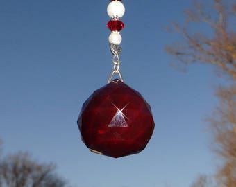 Ruby Red Crystal Sun Catcher, Crystal Prism, Hanging Ornament, Window Decoration, Red Sun Catcher, Crystal Window Ornament, New Home Gift