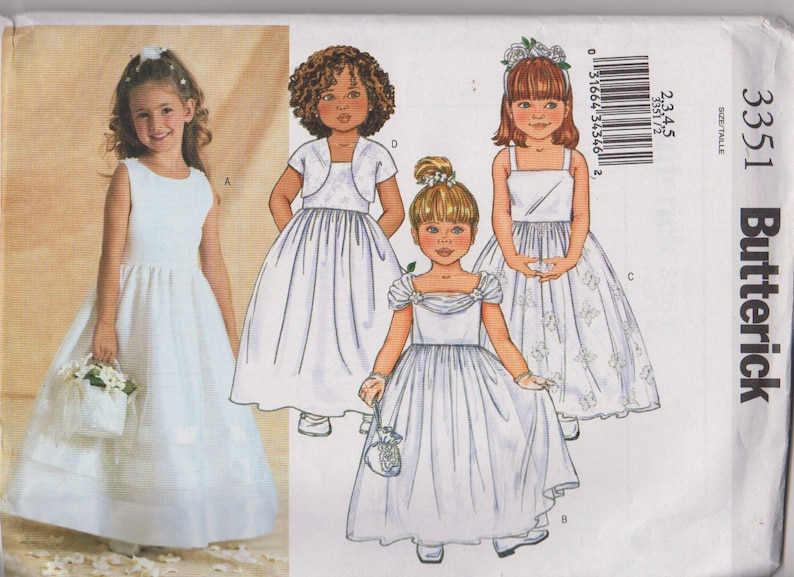24ab4757ad646 Patron Butterick 3351 couture filles robe habillée taille