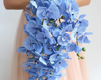 "Blue Orchid Cascading Bouquet - 24"" Long x 12"" Wide"