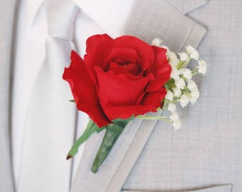 """Pack of 4 - Red Rose & White Baby's Breath Boutonniere - 5"""" Tall"""