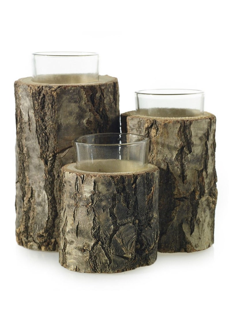 3-Tiered Wood Candle Holder with Glass Inserts 6.75 Tall