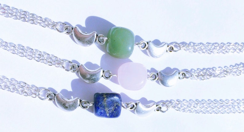 Crescent Moon Gemstone Nugget Bracelet