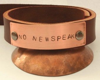 NO NEWSPEAK leather and copper bracelet 8-9 inch wrist