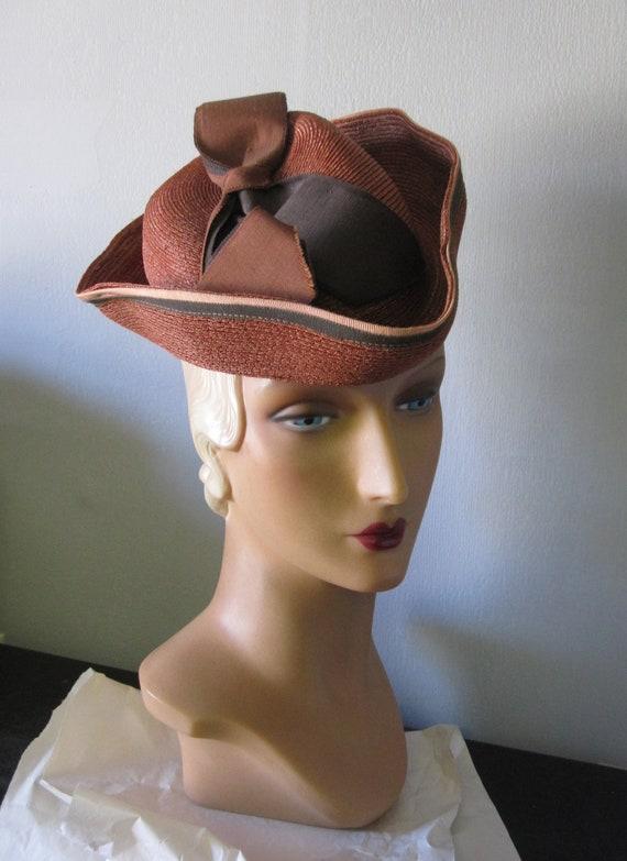 Adrienne - 1930's Copper Brown Straw Tricorn Hat w