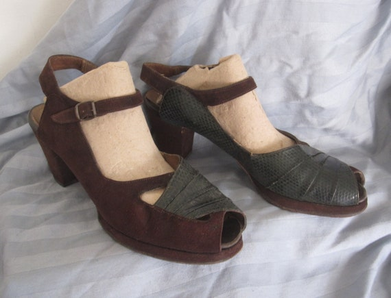 1940's Brown Suede and Green Snakeskin Peep Toe Sh