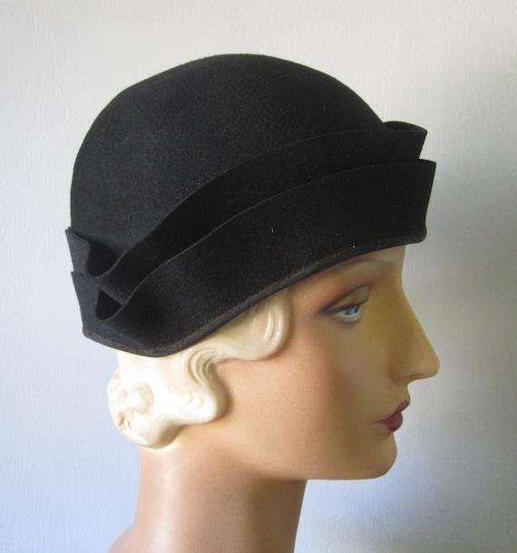 Addison - 1930's Black Wool Felt Cloche Hat
