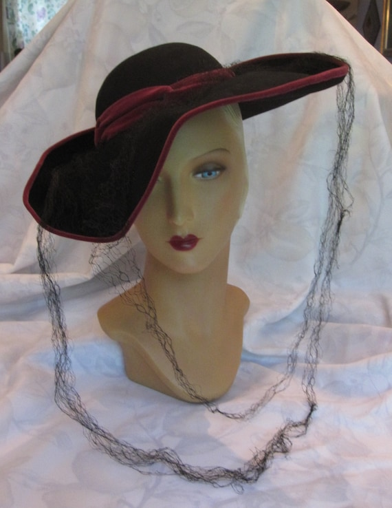 Simone - 1940's Wide Brim Wool Felt Fedora Hat wit