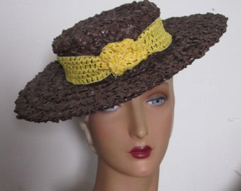 RESERVED - Lorraine - Chocolate Brown Straw Tilt Hat with Yellow Fabric Trim - New York Creation