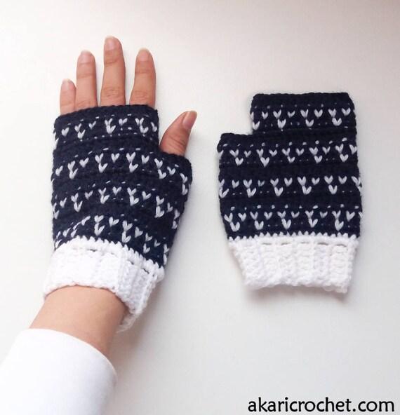 Guantes sin dedos patrón de crochet // mitones TRES CORAZONES | Etsy