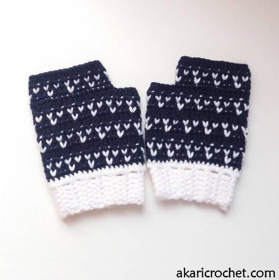 Guantes sin dedos patrón de crochet // mitones TRES CORAZONES   Etsy