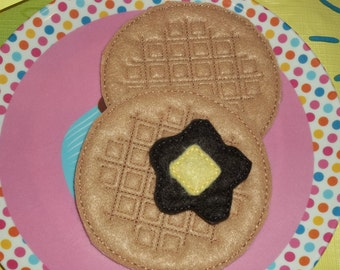 Felt Food - 2 Waffles with Syrup & Butter Felt Play Food Set