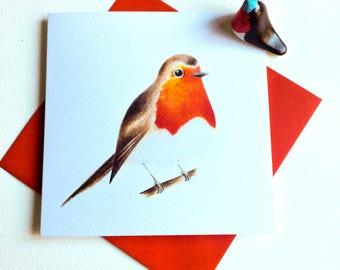 Robin card, Greeting card, Bird card, Birthday card.