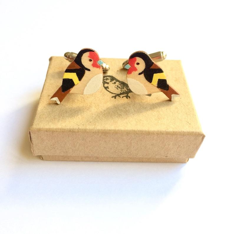 Wooden Goldfinch cufflinks. Wood cufflinks Bird Cufflinks. image 0