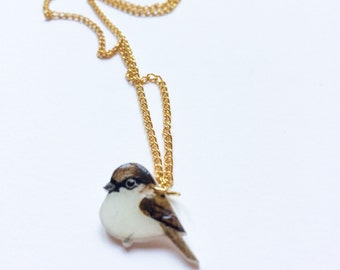 Hand drawn Sparrow necklace