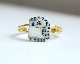 Hand drawn Owlring, bird ring, owl.