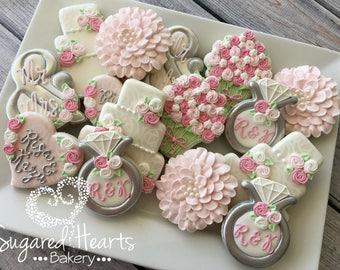 bridal shower wedding pink and silver cookies 1 dozen