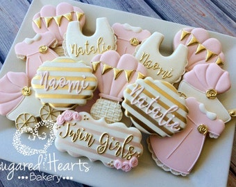 Gold and Pink Baby Shower Cookies -  1 Dozen
