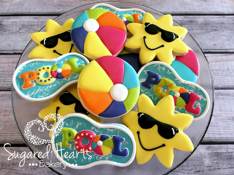 Pool Party Sun Beach Ball Cookies 1 Dozen   Etsy
