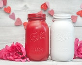 Red and White Mason Jars, Valentines Day Decor, Holiday Decor, Vases, Storage Canisters
