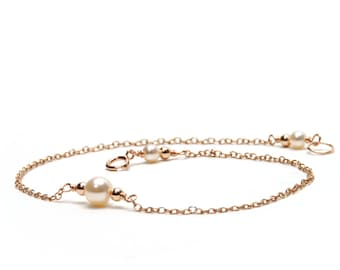 Pearl and Rose Gold Anklet - Handcrafted Pearl and Rose Gold Links on Rose Gold Filled Chain - Chain Anklet