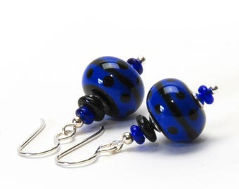 Cobalt Blue and Black Lampwork Glass Earrings with Sterling Silver Earwires
