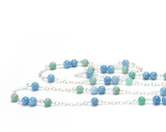 Genuine Aquamarine Long Necklace with Amazonite and Silver Filled Chain  - Aqua Natural Stone Necklace - March Birthstone Jewelry