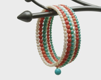 """Coral, Turquoise and Ivory Memory Wire Bracelet - Premium Fire Polished Czech Glass Beaded Bracelet, 6 Wraps (1"""" wide) - Easy Summer Jewelry"""