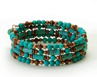 Genuine Turquoise Bracelet - Turquoise and Copper Memory Wire Bracelet - Turquoise Gemstone Jewelry