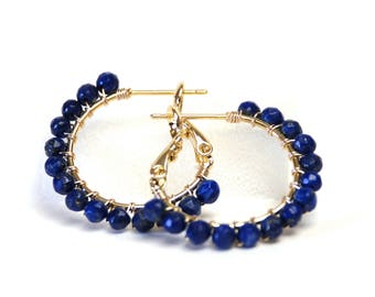 "Genuine Lapis Hoop Earrings - Gold Filled Wire Wrapped, Royal Blue Gemstones, Gold Plated Hoops (20mm, Beaded 1"")"