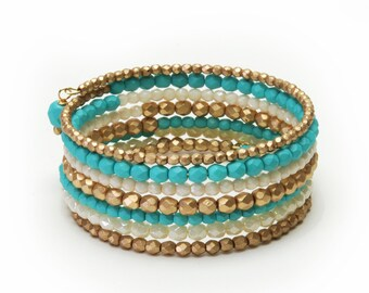"""Turquoise and Gold Memory Wire Bracelet - Premium Fire Polished Czech Glass Beaded Bracelet, 7 Wraps (1"""" wide) - Easy Summer Jewelry"""