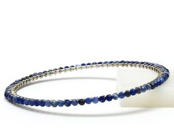 Denim Blue Sodalite Natural Stone Bangle Bracelet - Wire Wrapped Bangle - Mixed Blue Stacking Bracelet