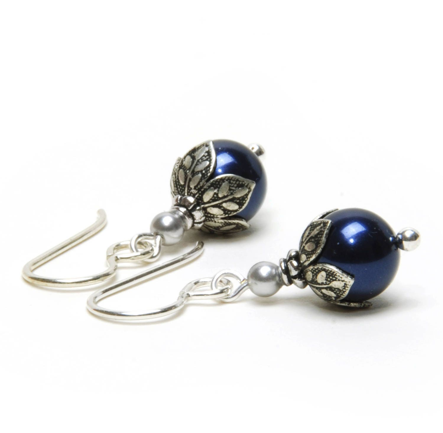 Small Blue Earrings: Small Dark Navy Blue Earrings Night Blue Swarovski Crystal