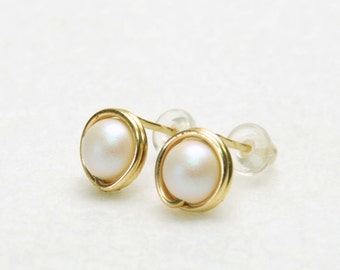 Pearl Stud Earrings, Lustrous White - Handmade Wire Wrapped Crystal Pearl Earrings - Choose Gold Filled or Fine (99%) Silver