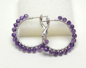 "AAA Amethyst Earrings - Sterling Silver Wire Wrapped Hoops - Purple Gemstone, Silver Plated Hoops with Posts & Leverbacks (20mm, Beaded 1"")"