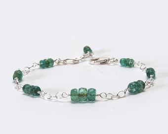 Natural Emerald Bracelet - Sterling Silver Chain and Link Bracelet - Genuine Precious Gemstone Bracelet - May Birthstone, Emerald Jewelry