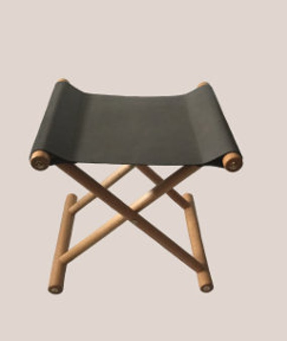 Enjoyable Handmade Folding Stool In Imported European Grey Leather Creativecarmelina Interior Chair Design Creativecarmelinacom