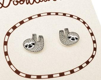 Sloth Earrings (Small), Sloth Jewelry, Sloth Jewellery, Sloth Gifts, Animal Earrings, Animal Jewelry, Animal Jewellery, Shrink Plastic